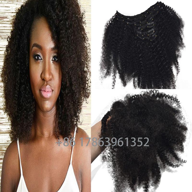 China Clips Human Hair Extension Natual Color Afro Kinky Curly Brazilian Human Hair 7pcs 120gram 14inch 16inch 18inch 20inch 22inch 24inch China Afro Kinky Curly Hair And Clip In Hair Extensions