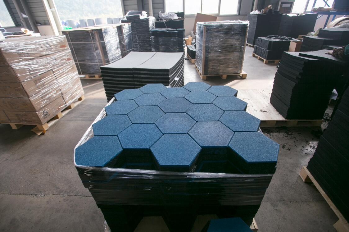 Factory Customized Colorful Hexagon Rubber Tiles Mats For Outdoor Walkway Pathway Playground Garden Courtyard Balcony