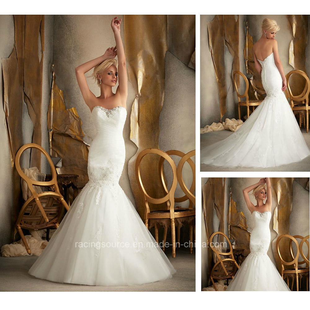 Modern Embroidary Beading Layer Pleating Ball Gown Wedding Dress