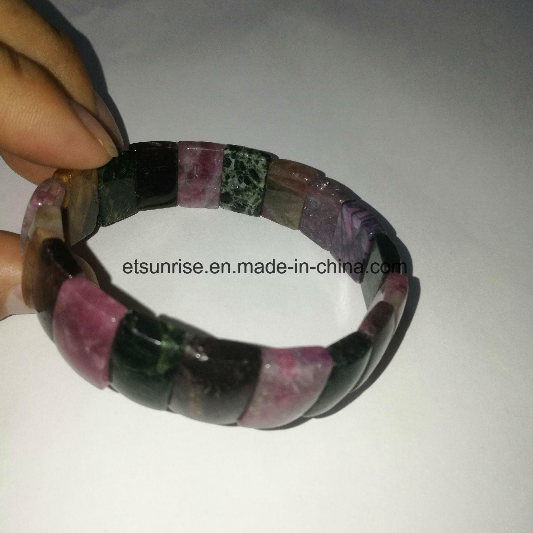 China Semi Precious Stone Tourmaline Natural Crystal Quartz Bracelet