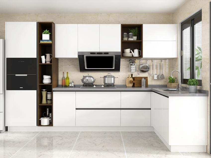 China High Gloss White PVC Faced MDF Kitchen Cabinet Door ...