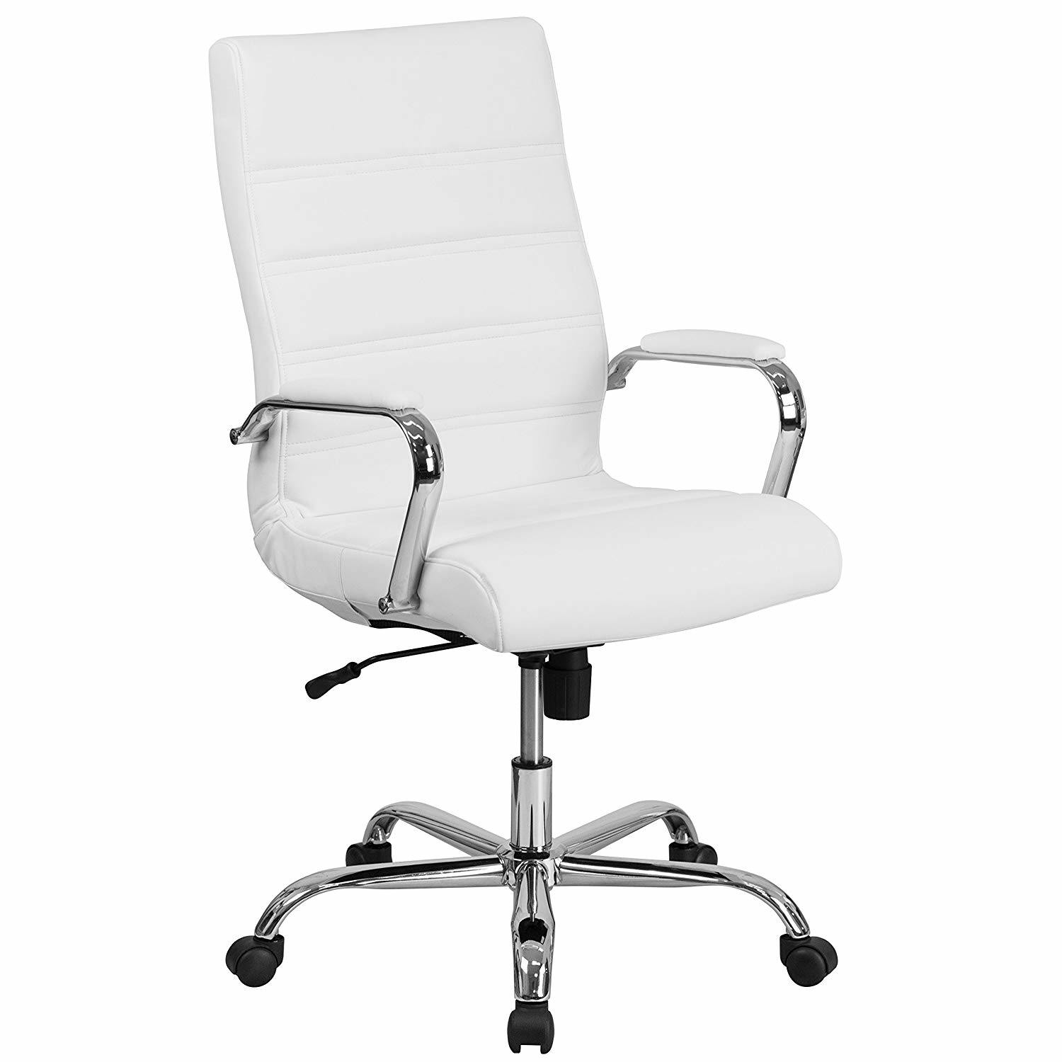 Hot Item High Back White Leather Office Executive Swivel Chair With Chrome Base And Arms Lsa 029wh