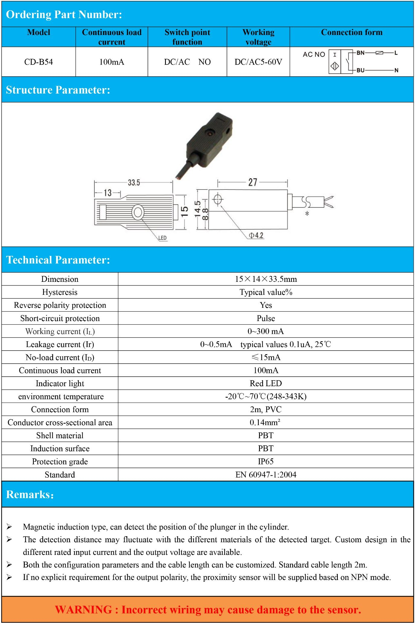 China Rectangular Type Magnetic Proximity Sensor Two-Wires DC/AC No ...