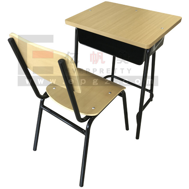 China Fixed Single Student Desk And Chair Set   China School Furniture,  School Furniture Wooden Chair