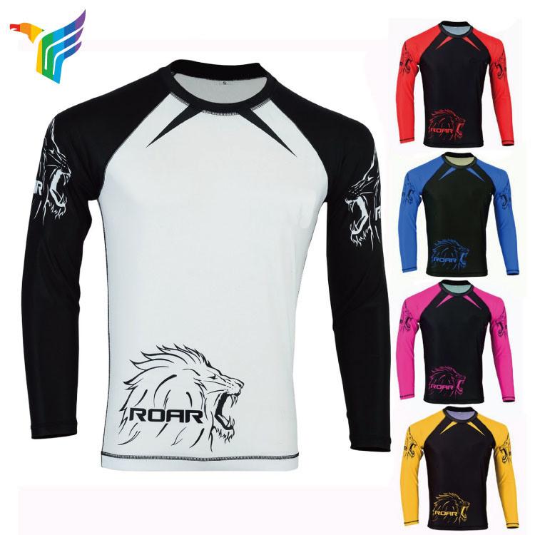 fd421c7e Polyester Spandex Long Sleeves Compression Shirt Custom Sublimated Bjj Rash  Guard
