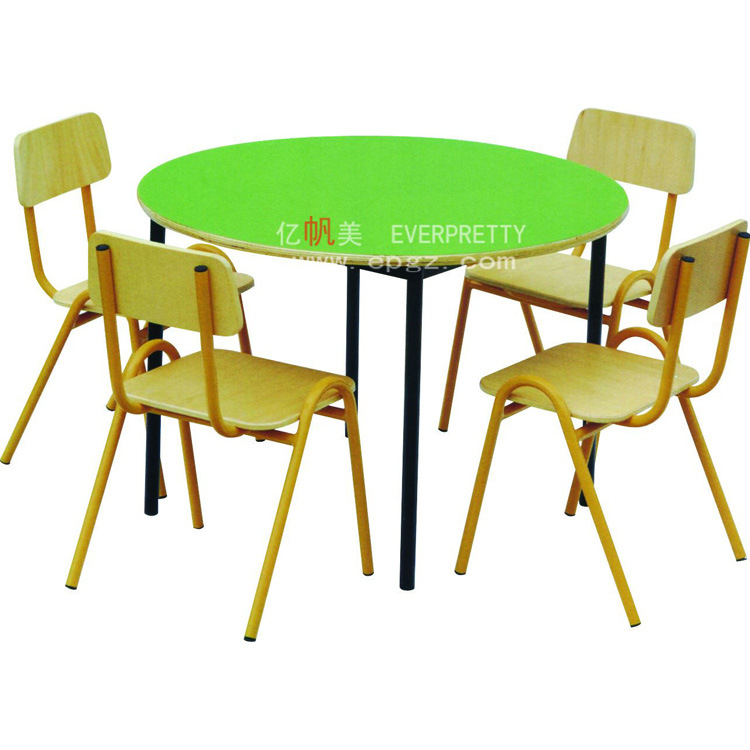 China Colorful Nursery School Furniture Kids Table With 4