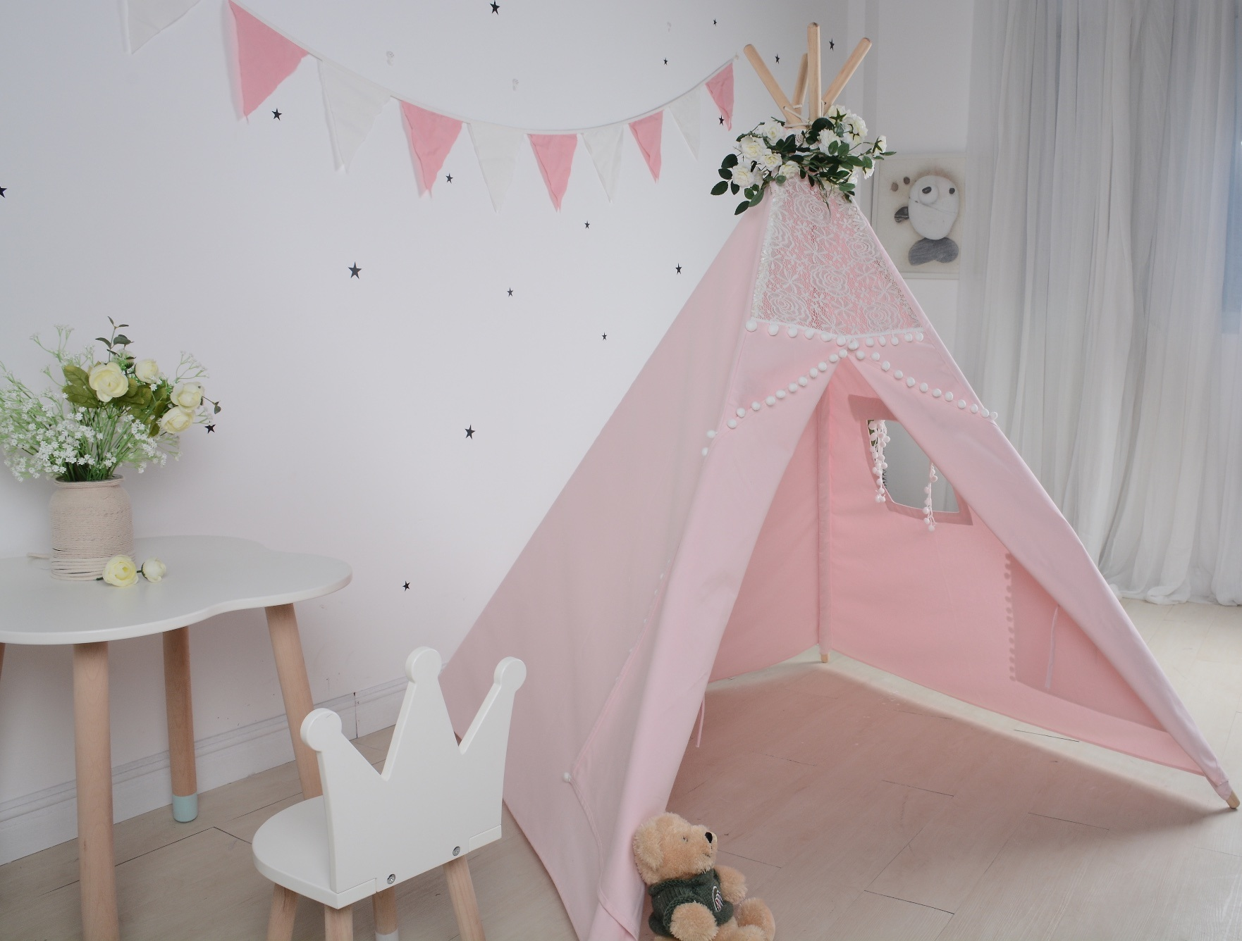 China Pink Lace Wood Pole Kids Playing Teepee Tent for Indoor
