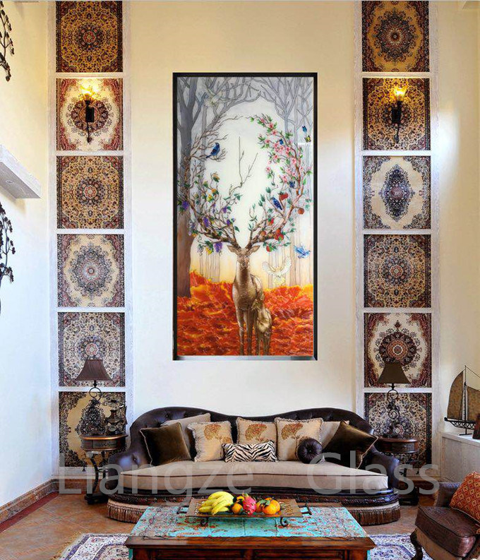 China Cloisonne Filigree Painting On Tempered Glass For Home