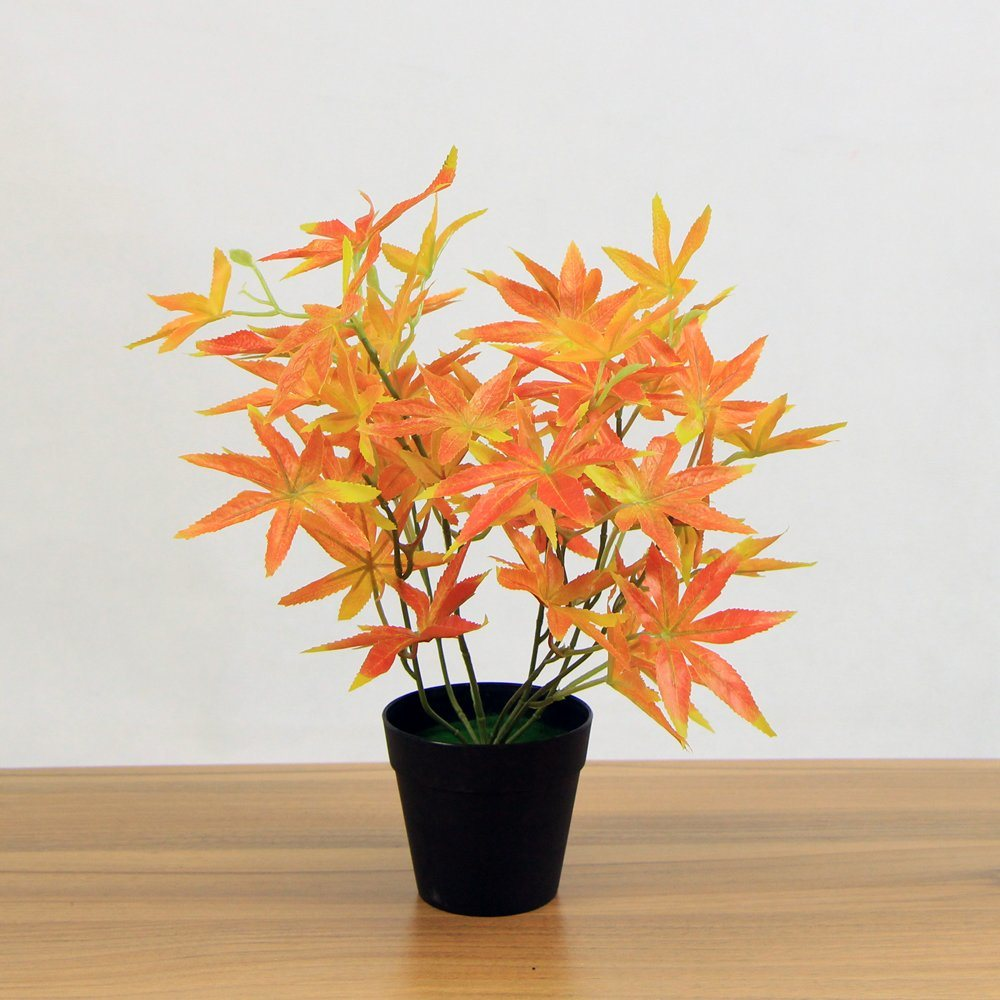 China Different Kinds Cheap Red Maple Leaf Plastic House Plants In