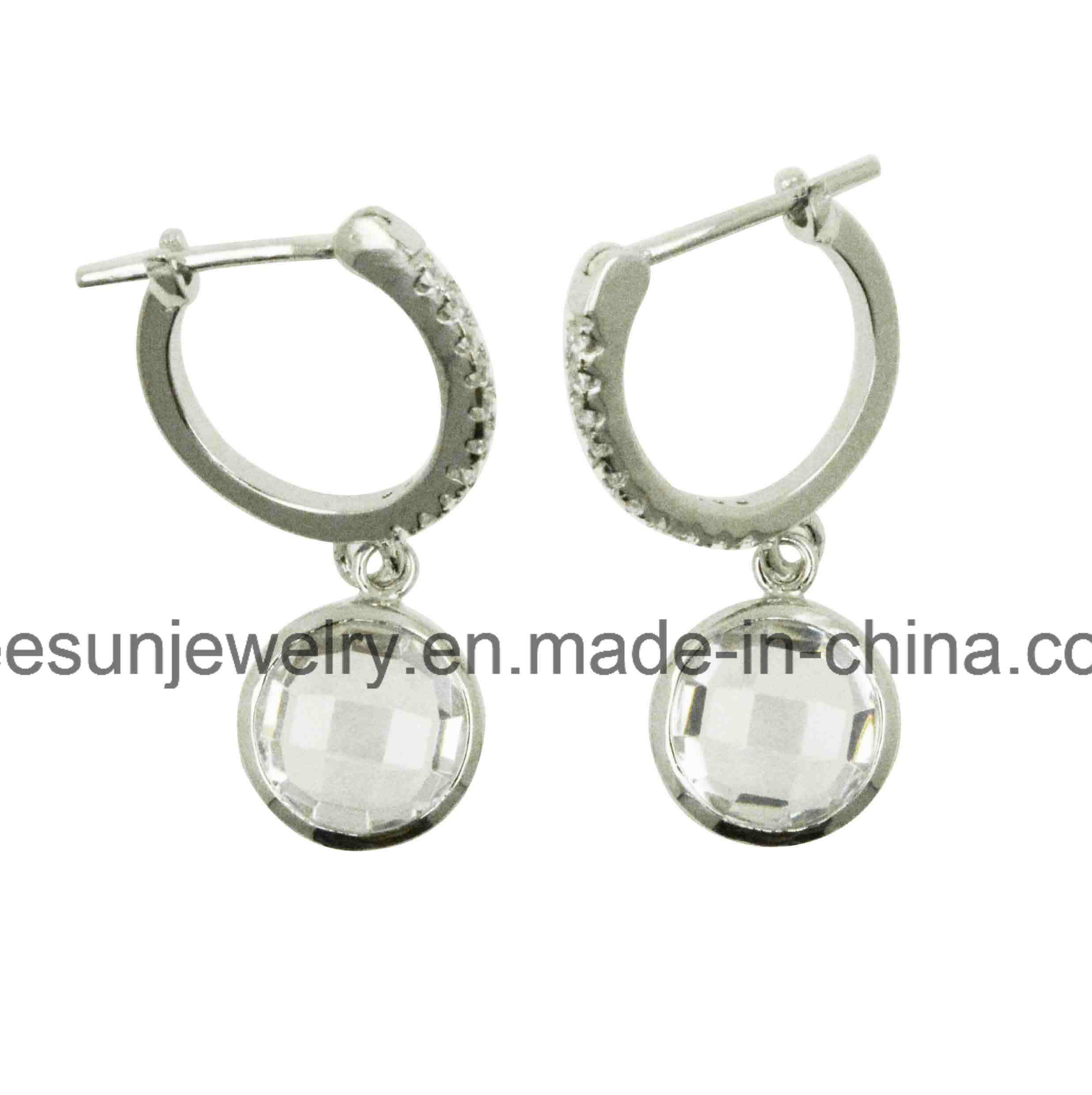 China 925 Sterling Silver Jewelry Dangling Earring Huggies With Franch Lock