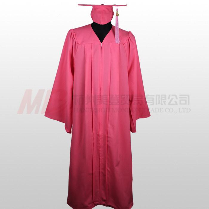 China Matte Pink High School Graduation Cap Gown - China Graduation ...