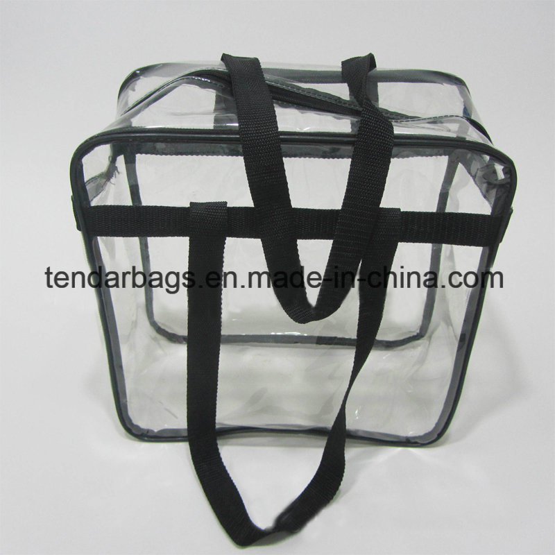 4196d534f8e Clear Plastic 12 X 12 X 6 NFL Stadium Approved Tote Bag with Black Handles