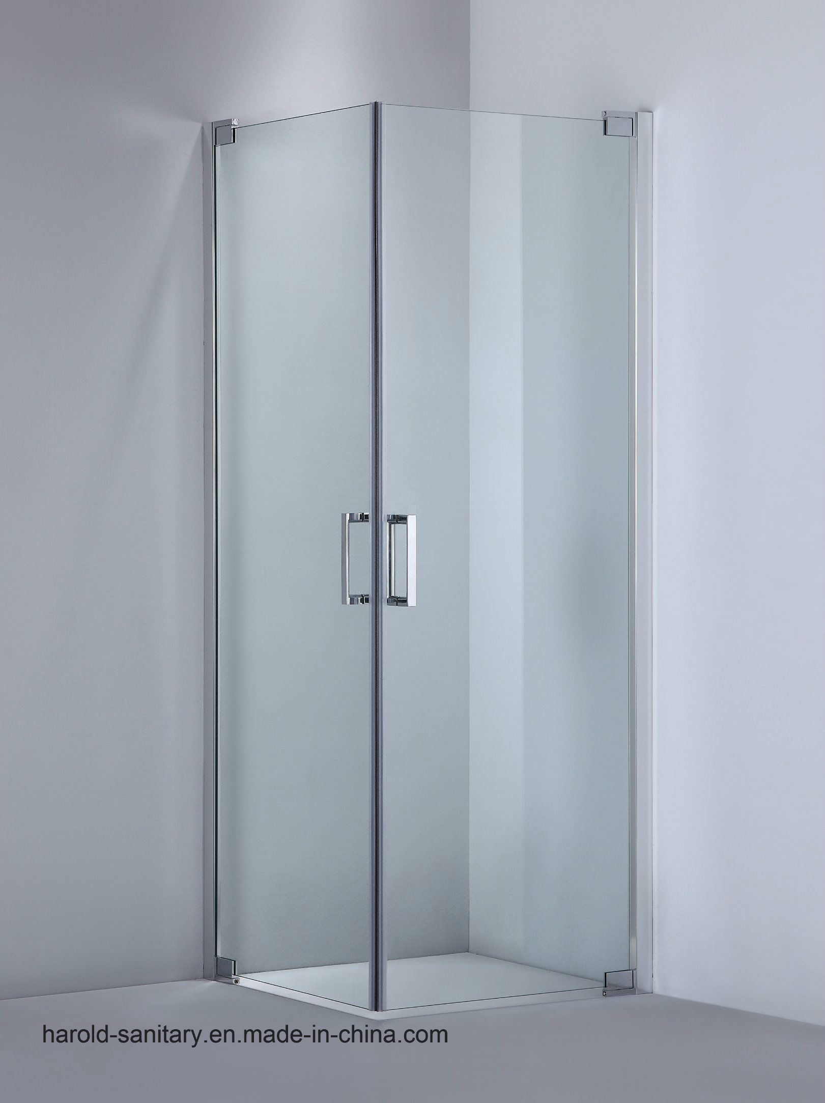 Hot Item Frameless Glass Shower Enclosure 2 Doors Swing