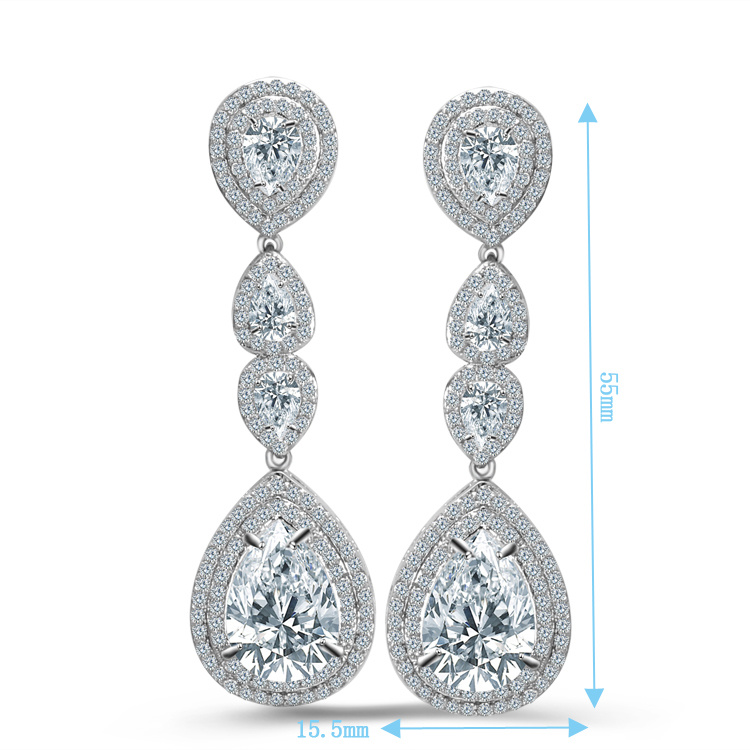 China Cubic Zirconia Earrings Bridal Jewelry Long Teardrop Dangle Earring Women Cz Wedding Brass Ladies Designs Pictures