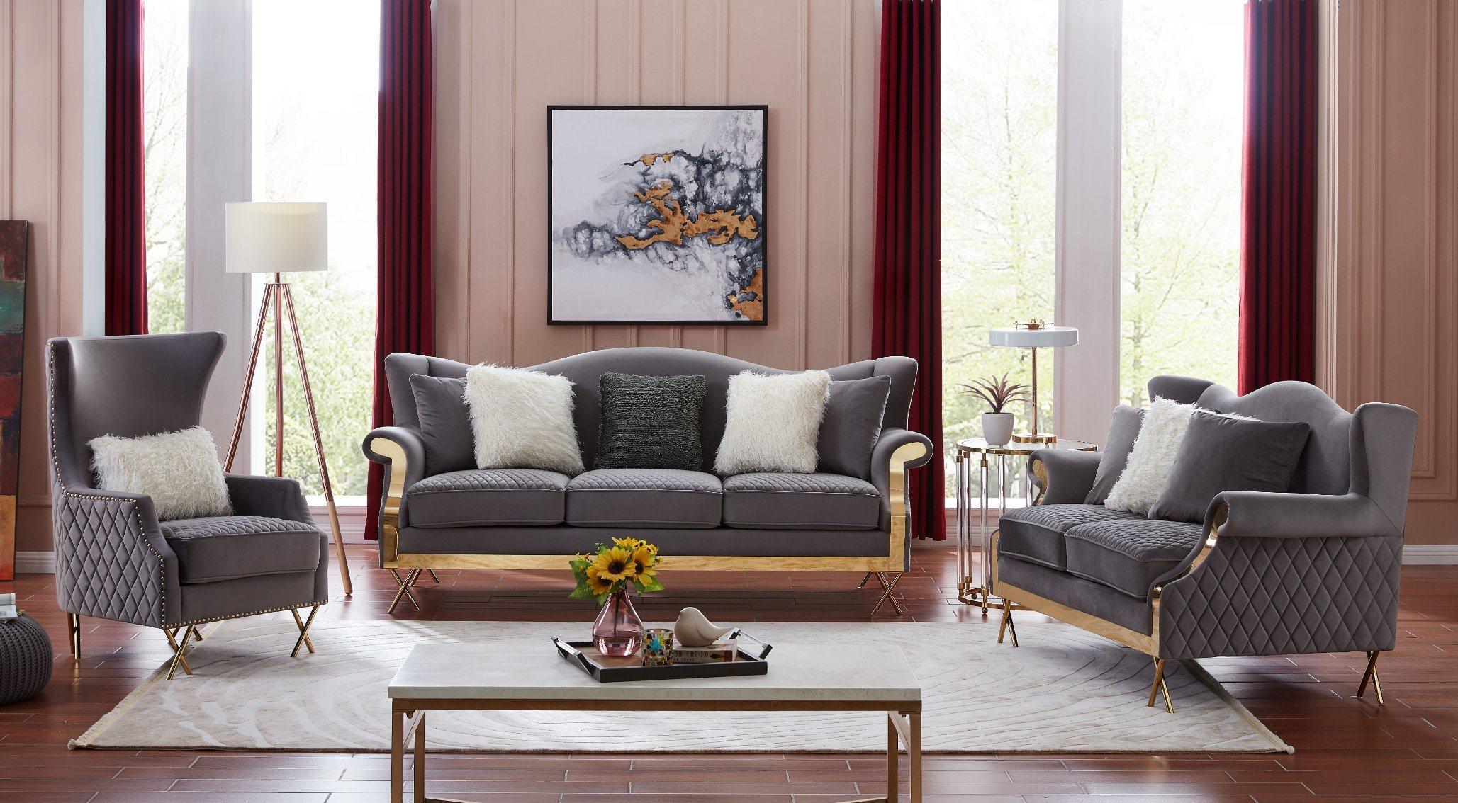 China Modern Design Velvet Sofa Gold