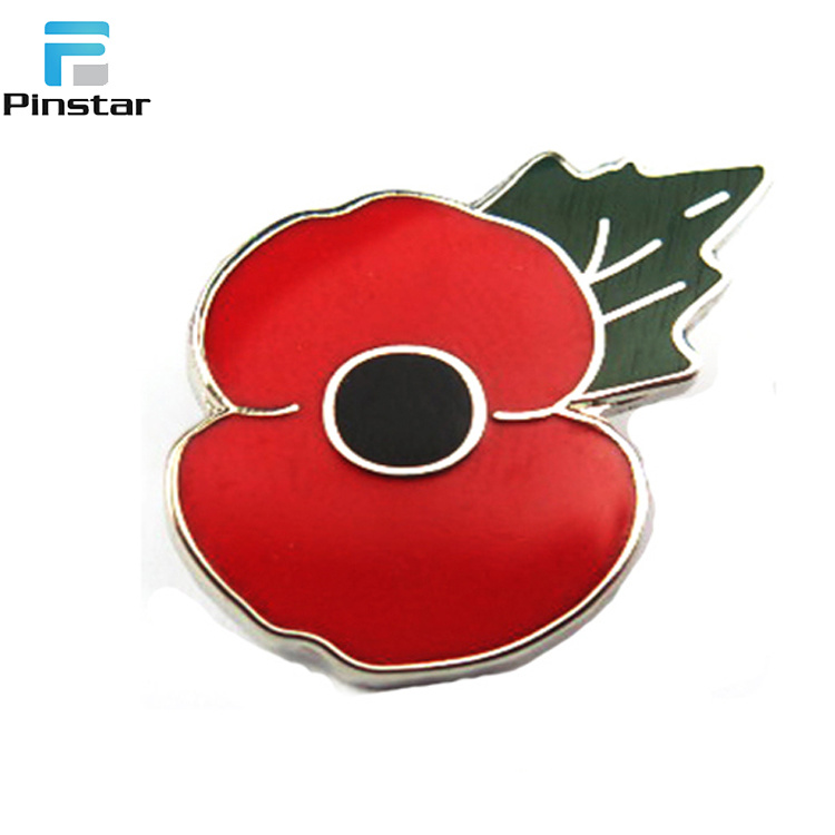 China Metal Sale Poppy Flower Remembrance Day Poppy Lapel Badge