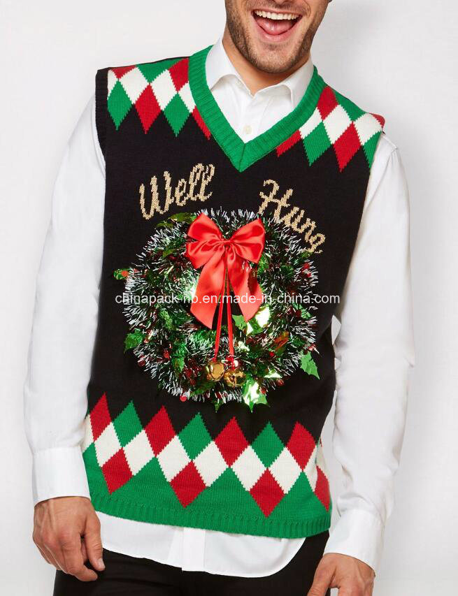 [Hot Item] Light up Wreath Well Hung Ugly Christmas Sweater Vest