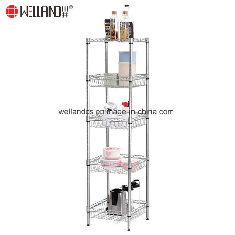 China Free-Standing Small 5-Shelf Kitchen Baskets Storage Metal Wire ...