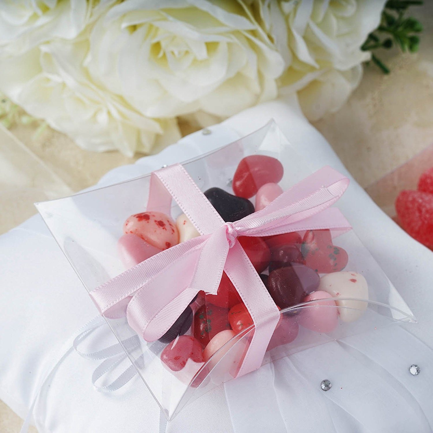 China Clear Plastic Pillow Wedding Favor Boxes Party Birthday Candy