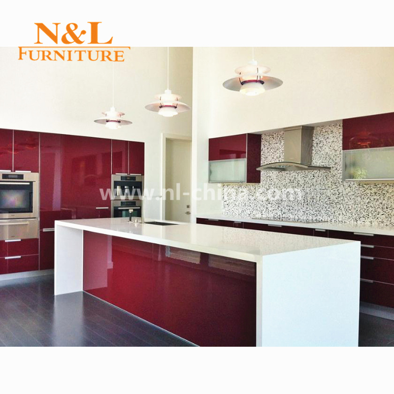 High Gloss Red White Kitchen Cabinet