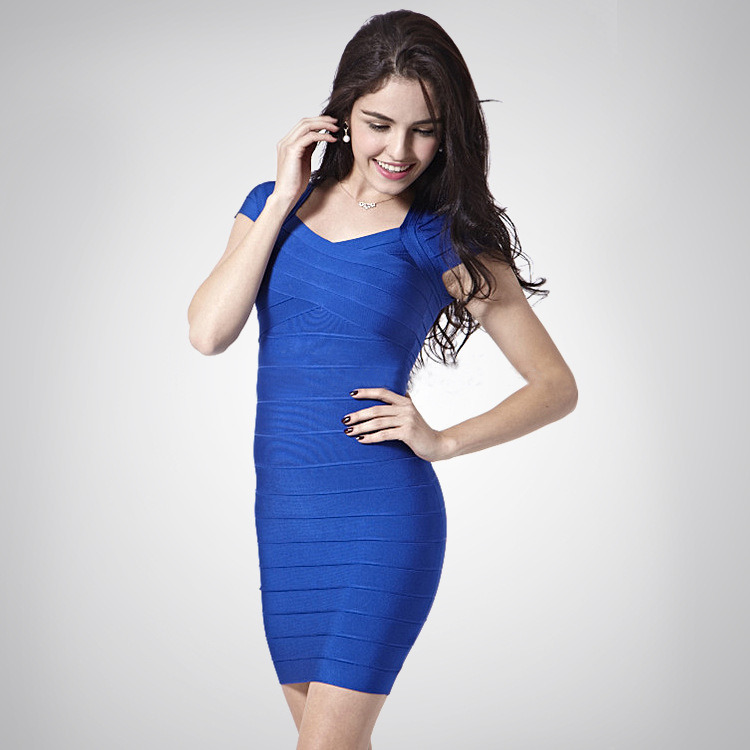 China Royal Blue Bandage Dress Celebrity Club Dress Tight Cocktail ...