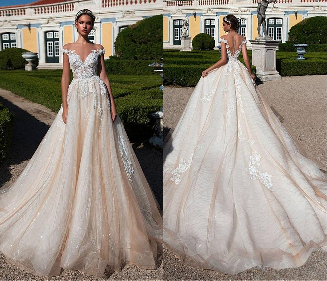 China Champagne Bridal Gowns Sleeveless Sequins Wedding Dress H5207 ...