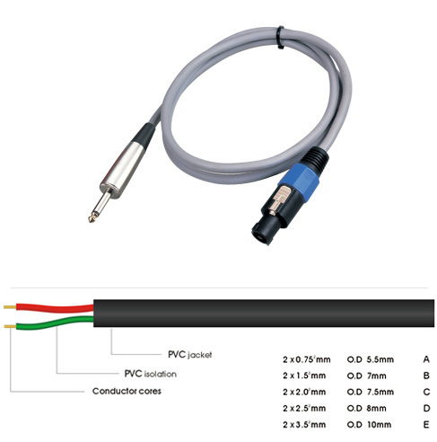 China Audio Cable Speaker Microphone Cable Speakon to 6.35 mm ...