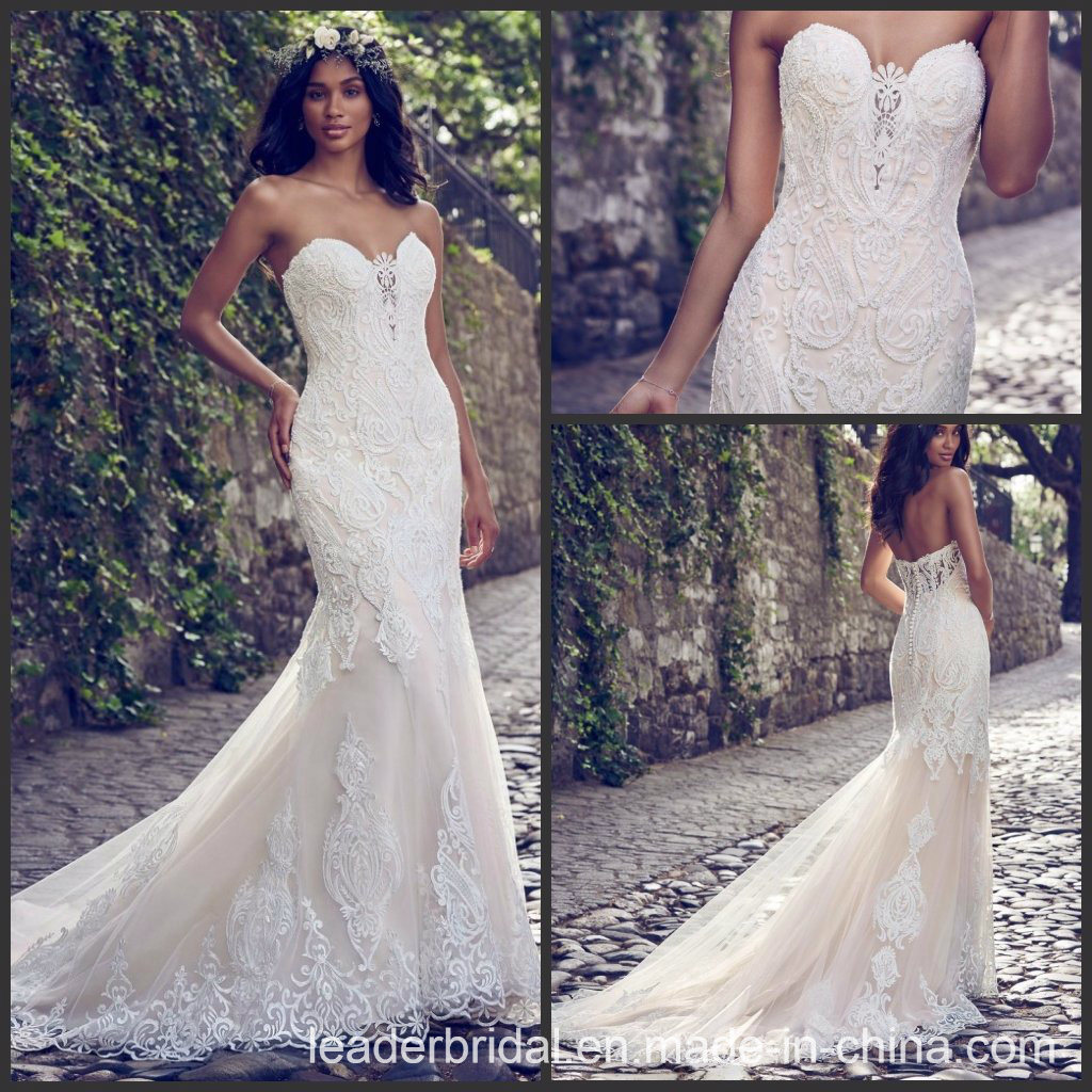 China Strapless Bridal Gowns Lace Appliqued Beach Country Wedding ...