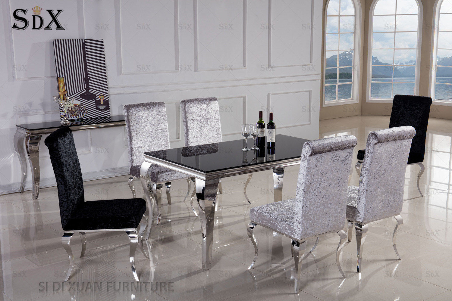 Hot Item Modern Royal Glass Top Stainless Steel Dining Table Design For Banquet Hall