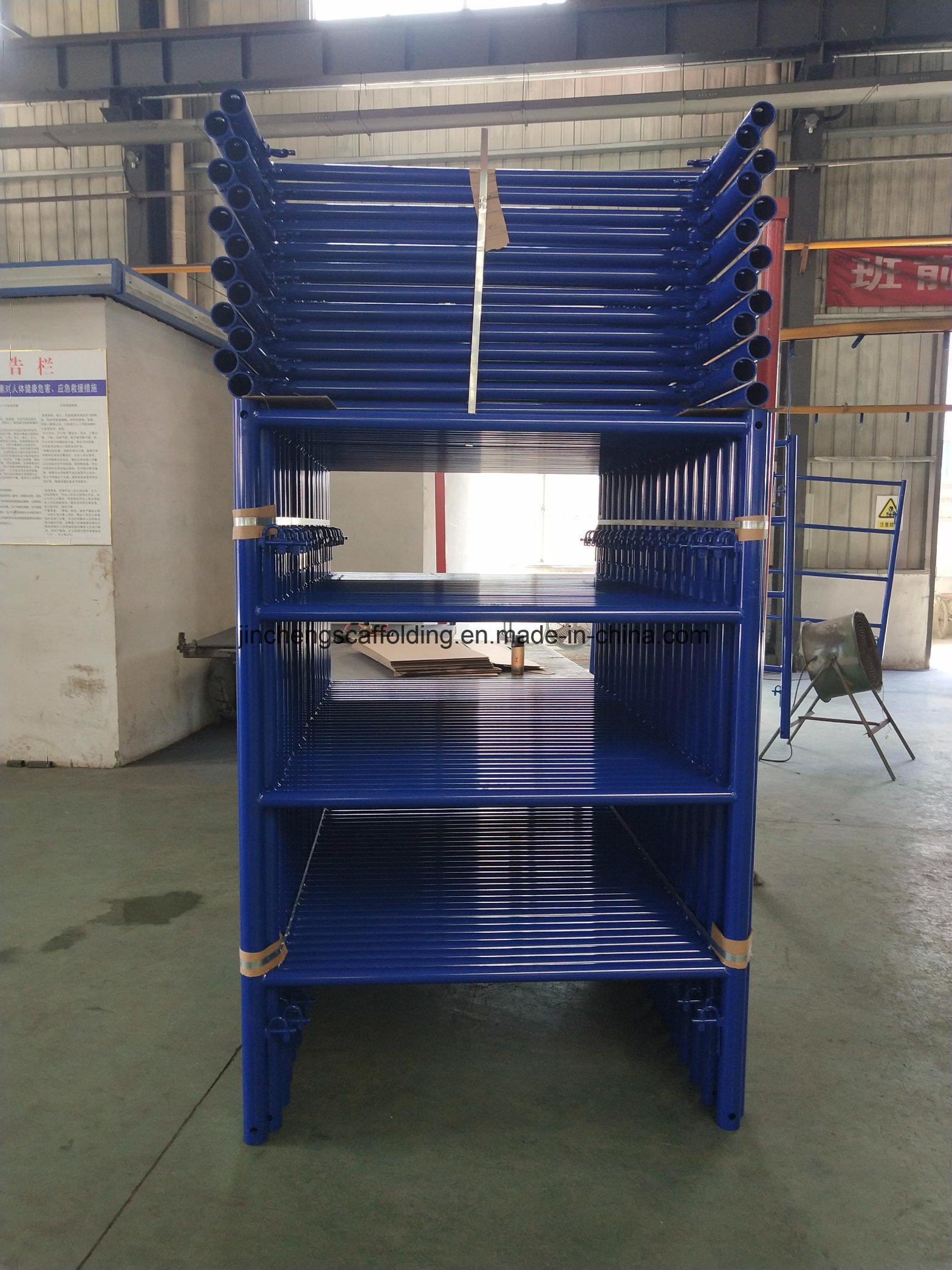 China Powder Coated Or Painted Blue Ladder Frame Scaffold