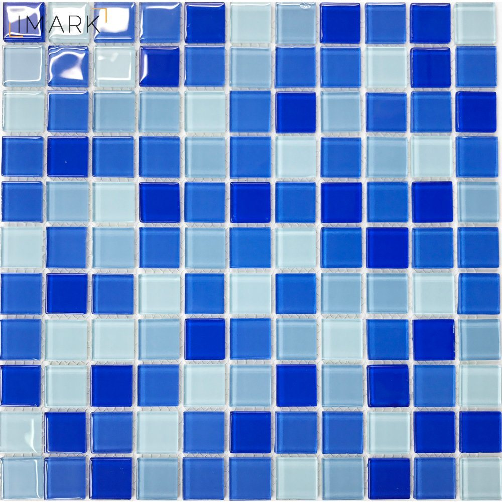China Cheap Blue Mixed Crystal Glass Mosaic Tile for Swimming Pool ...