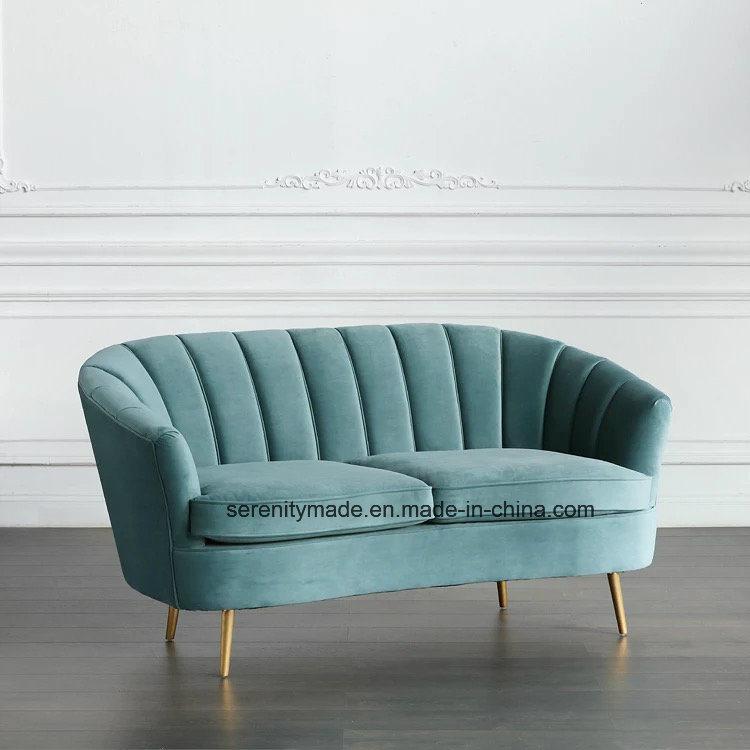 [Hot Item] Lifestyle Living Furniture Contempary Green Velvet Fabric Sofa  with Brass Legs