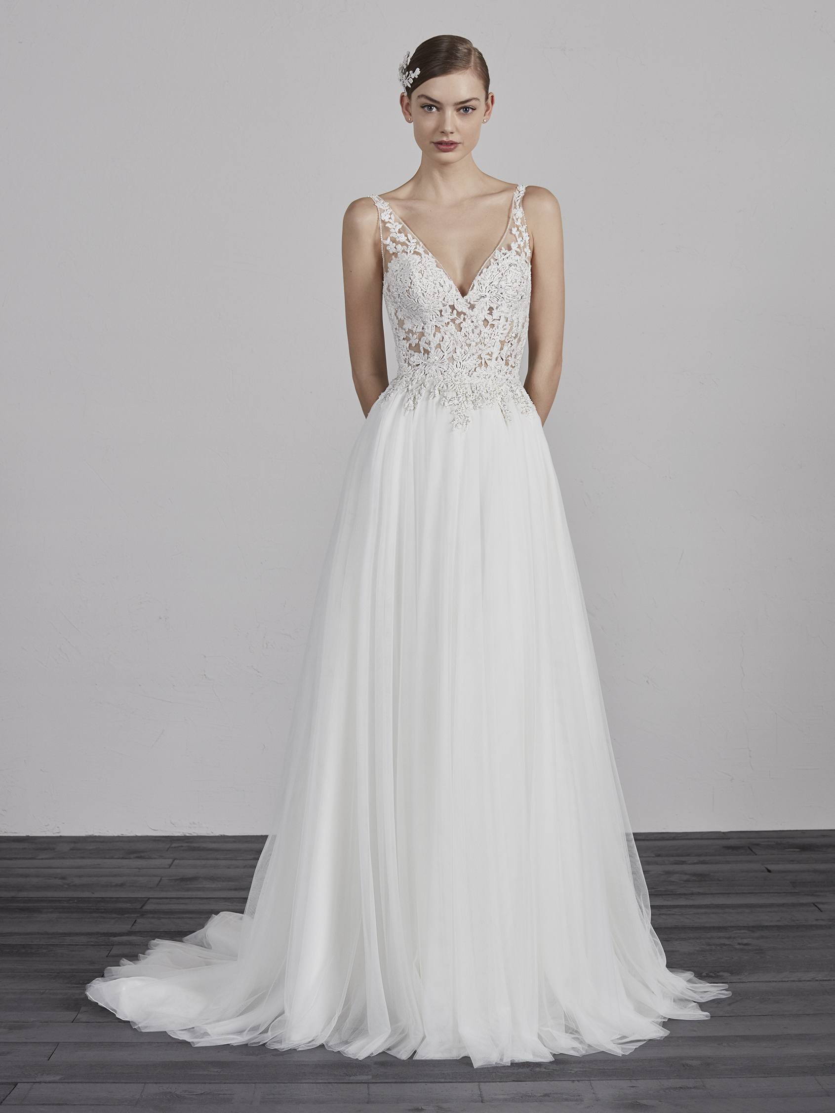 China A-Line Boho Wedding Gowns Sleeveless Lace Tulle Bridal Dress ...