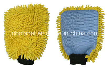 Single Side Chenille & Netted Cloth Complexed Car Cleaning Glove
