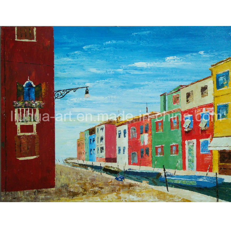 Buildings by River Hand Painted Contemporary Landscape Oil Painting On Canvas