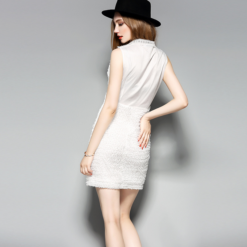 White Sleeveless 3D Modelling Women Pencil Dress pictures & photos