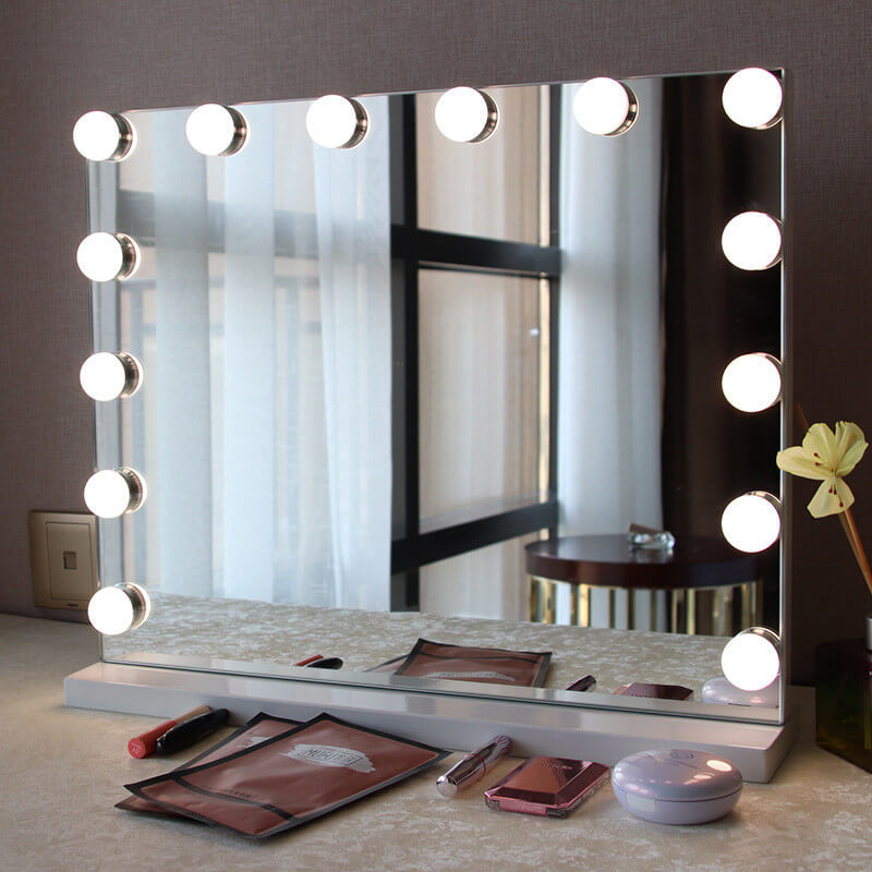 Large Lighted Vanity Makeup Mirror Off, Big Standing Mirror With Light Bulbs