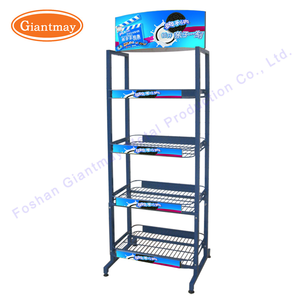 China Customized 4-Tier Metal Wire Shelving Supermarket Floor ...