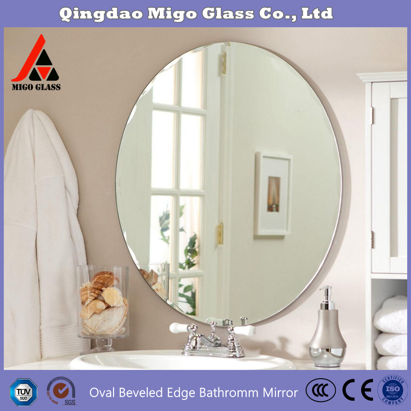 China Frameless Oval Bathroom Mirror Silver Wall Mirror Bathroom Vanity Mirrors Price China Oval Mirror Frameless Mirror