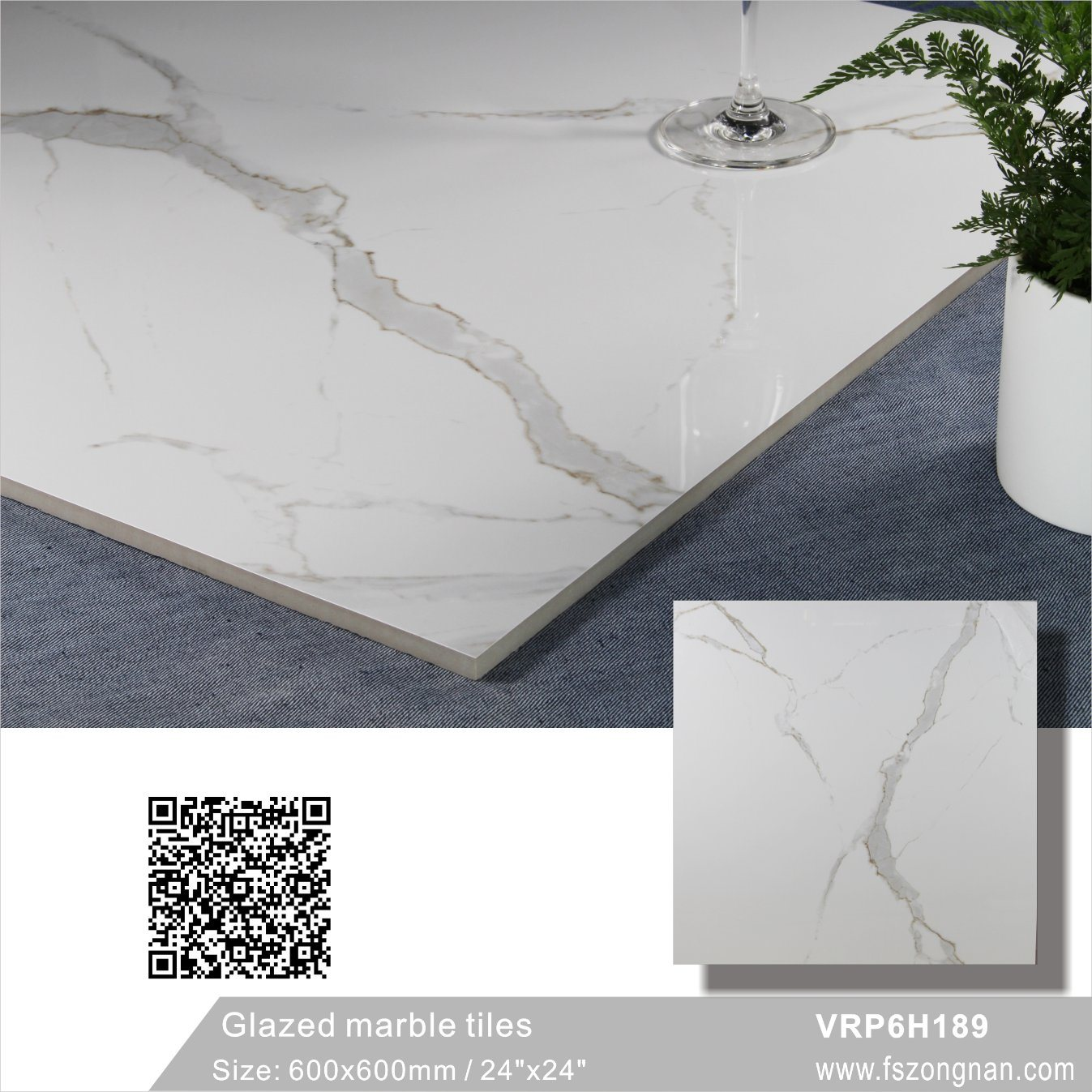 China Carara White Glazed Marble Polished Porcelain Floor Tile For