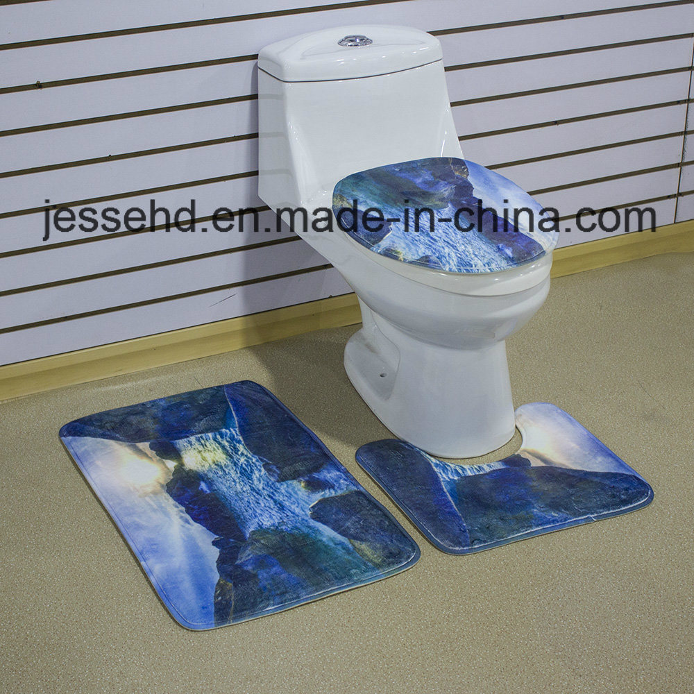 China Toilet Cover Seat and Bath Custom 3D Printed 3 Piece Anti-Slip ...