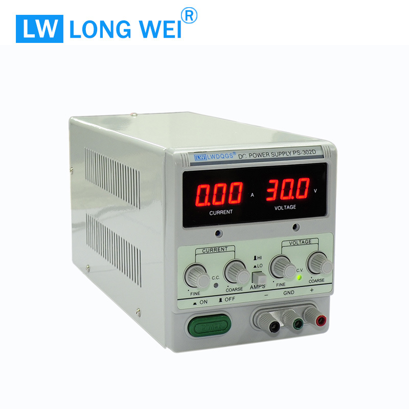 60W PS302D Transformer Adjustable Linear DC Power Supply with Alligator Cable and Power Cord