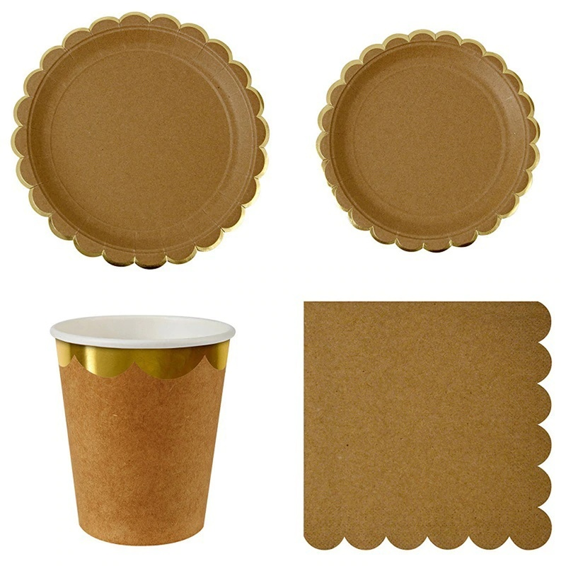Luxury Tableware Set Paper Plates Disposable Cup Dishes Birthday Party Tableware