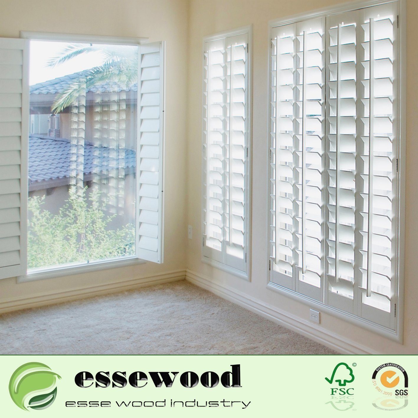 Hot Item Interior Louvered Shutter Window Plantation Louvered Jalousie Vinyl Shutters