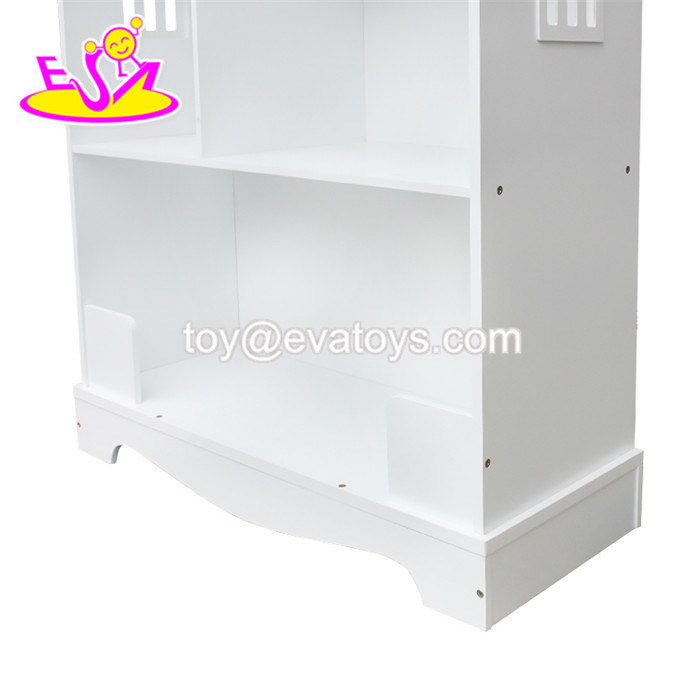 China New Design Dollhouse Shaped Wooden White Bookcase For Children