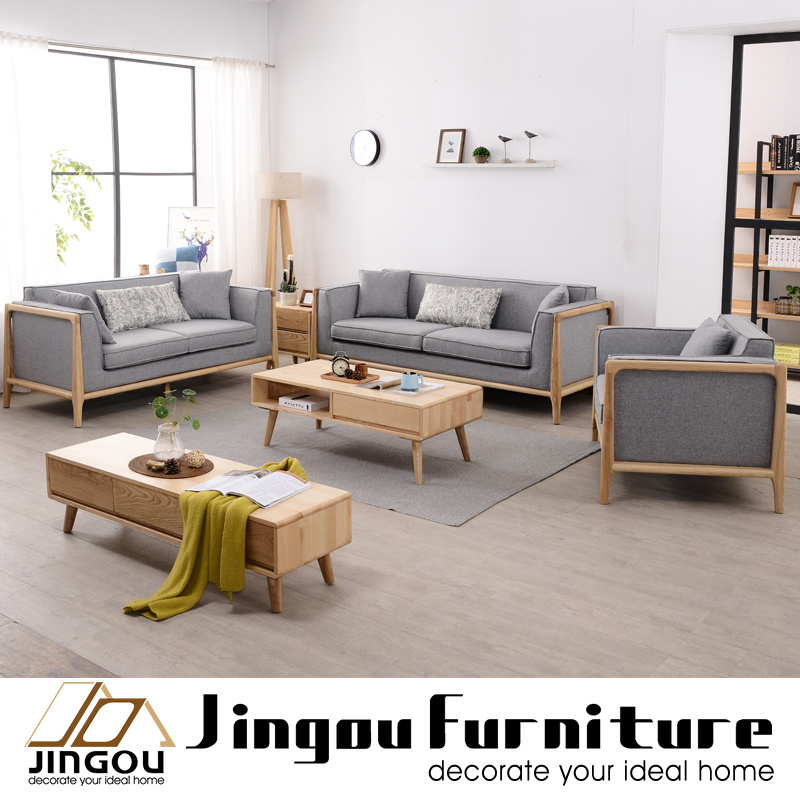 [Hot Item] Modern Wood Living Room Furniture Set Sofa Coffee Table and TV  Stand for Home