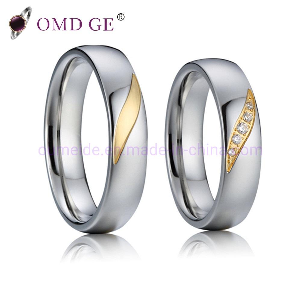 2839bee3192a3 [Hot Item] Unique Titanium Wedding Band Sets 14K 18K 24K Gold Plating  Couple Rings