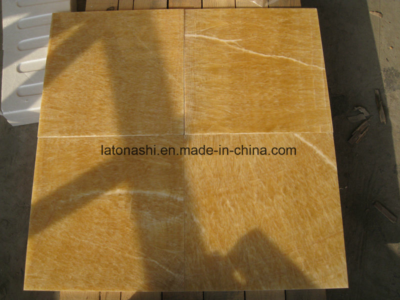 China Honey Yellow Onyx Marble Tiles For Floor Wall