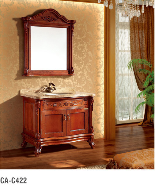 Solid Wood Red Brown Bathroom Cabinet