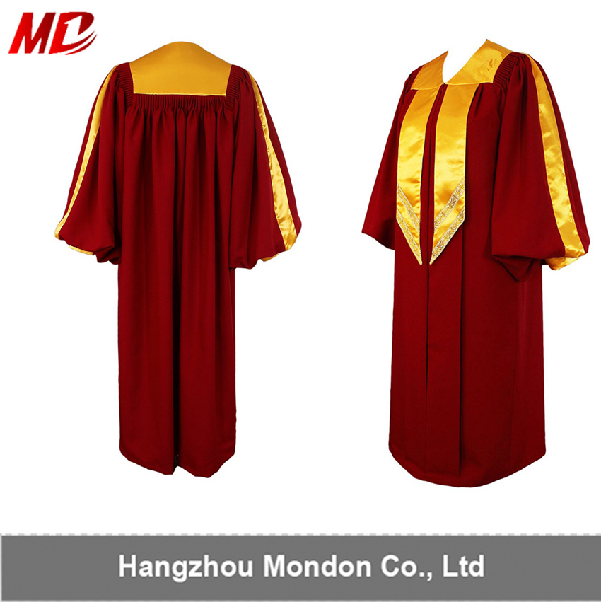 China Factory Sale Elegant Maroon Deluxe Choir Robes with Gold Trim ...